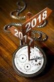 Feliz Año Nuevo 2018 - reloj con las muestras Fotografía de archivo libre de regalías