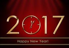 Feliz Año Nuevo 2017 Reloj del Año Nuevo Foto de archivo
