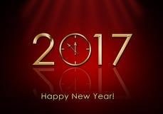 Feliz Año Nuevo 2017 Reloj del Año Nuevo Foto de archivo libre de regalías