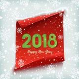 Feliz Año Nuevo 2018 Rojo, bandera de papel ilustración del vector