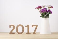 Feliz Año Nuevo Símbolo del suspiro del número 2017 Imágenes de archivo libres de regalías