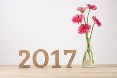 Feliz Año Nuevo Símbolo del suspiro del número 2017 Fotografía de archivo