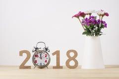Feliz Año Nuevo Símbolo del suspiro del número 2018 Imagen de archivo libre de regalías