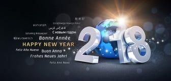 Feliz Año Nuevo 2018 - saludos internacionales Imágenes de archivo libres de regalías