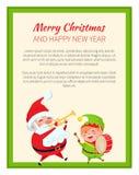 Feliz Año Nuevo Santa Claus de la Feliz Navidad y duende libre illustration