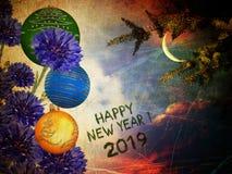 Feliz Año Nuevo 2019 Sueños de la noche fotos de archivo libres de regalías