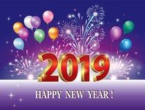 Feliz Año Nuevo 2019 Tarjeta de felicitación ilustración del vector