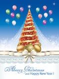 Feliz Año Nuevo 2019 Tarjeta de felicitación con el árbol del Año Nuevo libre illustration