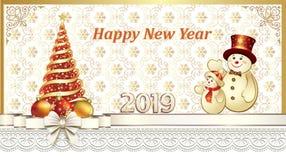 Feliz Año Nuevo 2019 Tarjeta de felicitación con el árbol de navidad y los muñecos de nieve libre illustration
