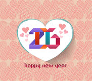 Feliz Año Nuevo 2016 Tarjeta de felicitación con el fondo de los corazones Foto de archivo libre de regalías
