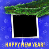 ¡Feliz Año Nuevo! tarjeta de felicitación con el marco en blanco de la foto Fotos de archivo