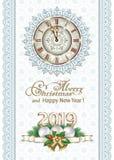Feliz Año Nuevo 2019 Tarjeta de felicitación con el reloj y los copos de nieve libre illustration