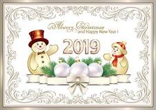 Feliz Año Nuevo 2019 Tarjeta de felicitación con los muñecos de nieve y la decoración de la Navidad Ilustración del vector ilustración del vector
