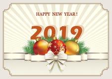 Feliz Año Nuevo 2019 Tarjeta de felicitación con una fecha y una decoración de la Navidad ilustración del vector