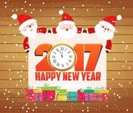 Feliz Año Nuevo tarjeta de felicitación de Papá Noel 2017 y del reloj Foto de archivo libre de regalías