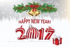 Feliz Año Nuevo 2017 - tarjeta de felicitación elegante Imagen de archivo libre de regalías