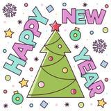 Feliz Año Nuevo Tarjeta de felicitación Ilustración del vector Fotografía de archivo libre de regalías