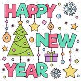 Feliz Año Nuevo Tarjeta de felicitación Ilustración del vector Fotos de archivo libres de regalías