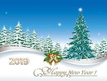 Feliz Año Nuevo 2019 Tarjeta de felicitación de la Navidad con el árbol del día de fiesta de la Navidad ilustración del vector