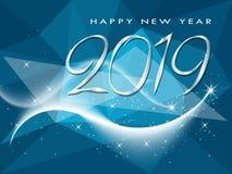 Feliz Año Nuevo tarjeta de felicitación de 2019 vacaciones de invierno stock de ilustración