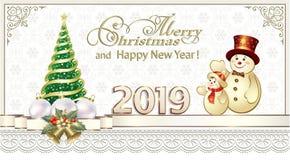 Feliz Año Nuevo 2019 Tarjeta de la tarjeta del Año Nuevo con un árbol de navidad y los muñecos de nieve libre illustration