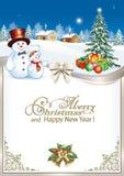 Feliz Año Nuevo Tarjeta de Navidad con el árbol de navidad y los muñecos de nieve stock de ilustración