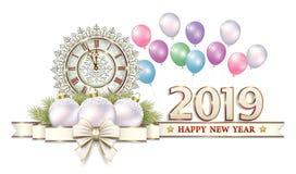 Feliz Año Nuevo 2019 Tarjeta de Navidad con un reloj y las bolas ilustración del vector