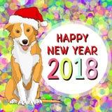 Feliz Año Nuevo, tarjeta del Año Nuevo con un perro amarillo exhausto Foto de archivo