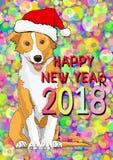 Feliz Año Nuevo, tarjeta del Año Nuevo con un perro amarillo exhausto en el sombrero de Santa Claus Fotografía de archivo