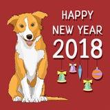 Feliz Año Nuevo, tarjeta del Año Nuevo con un símbolo exhausto del perro amarillo del año 2018 Imagenes de archivo