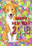 Feliz Año Nuevo, tarjeta del Año Nuevo con un símbolo exhausto del perro amarillo del año 2018 Foto de archivo