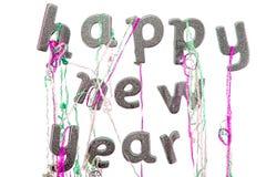 Feliz Año Nuevo Texto del partido de la víspera del ` s del Año Nuevo en la palabra de plata del brillo Fotos de archivo