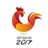 Feliz Año Nuevo 2017 Vector la tarjeta de felicitación con el símbolo moderno del gallo rojo de 2017 y la caligrafía Fotografía de archivo