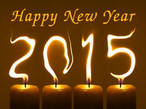Feliz Año Nuevo 2015 - velas Fotografía de archivo libre de regalías