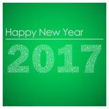 Feliz Año Nuevo verde 2017 de los pequeños copos de nieve eps10 Imágenes de archivo libres de regalías