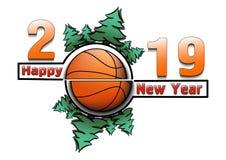 Feliz Año Nuevo 2019 y baloncesto ilustración del vector