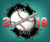 Feliz Año Nuevo 2019 y bola del béisbol ilustración del vector