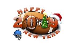 Feliz Año Nuevo 2019 y bola del fútbol ilustración del vector