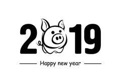 Feliz Año Nuevo 2019 y cerdo libre illustration