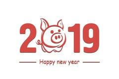 Feliz Año Nuevo 2019 y cerdo stock de ilustración