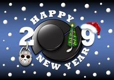 Feliz Año Nuevo 2019 y duende malicioso de hockey libre illustration