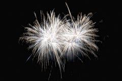 Feliz Año Nuevo y felices fuegos artificiales de Navidad en fondo negro Fotografía de archivo
