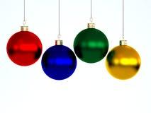 Feliz Año Nuevo y Feliz Navidad. Decoraciones del árbol de navidad Imágenes de archivo libres de regalías