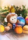 Feliz Año Nuevo y la Navidad postal Fotos de archivo libres de regalías