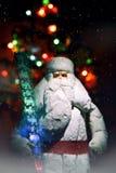 Feliz Año Nuevo y la Navidad postal el estilo retro entonó imagen Foco selectivo Foto de archivo libre de regalías
