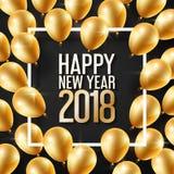 Feliz Año Nuevo 2018 y marco blanco con los globos del oro para la plantilla del diseño, ejemplo del vector stock de ilustración