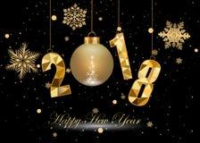 Feliz Año Nuevo y Feliz Navidad 2018 Imágenes de archivo libres de regalías