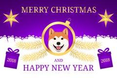 Feliz Año Nuevo 2018 y Feliz Navidad con Akita Fotografía de archivo