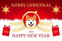 Feliz Año Nuevo 2018 y Feliz Navidad con Akita Imagenes de archivo