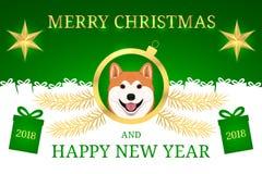 Feliz Año Nuevo 2018 y Feliz Navidad con Akita Foto de archivo